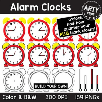 Alarm Clocks Clipart MEGA BUNDLE ( o\'clock, half, quarter hours ) {Arty  Clips}.