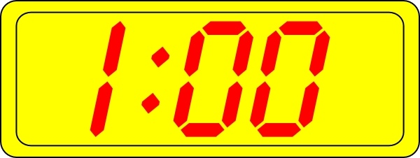 Digital Clock 1:00 clip art Free vector in Open office.