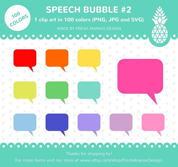 100 Colors Clipart: Speech Bubble #2, Chat Bubble, Comic.
