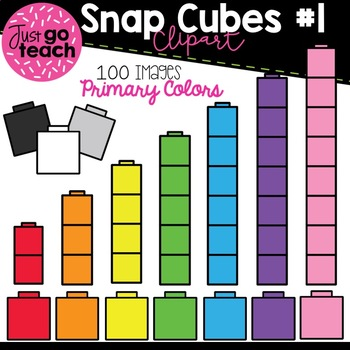 Math Snap Cubes #1 {Primary Colors} Clipart.