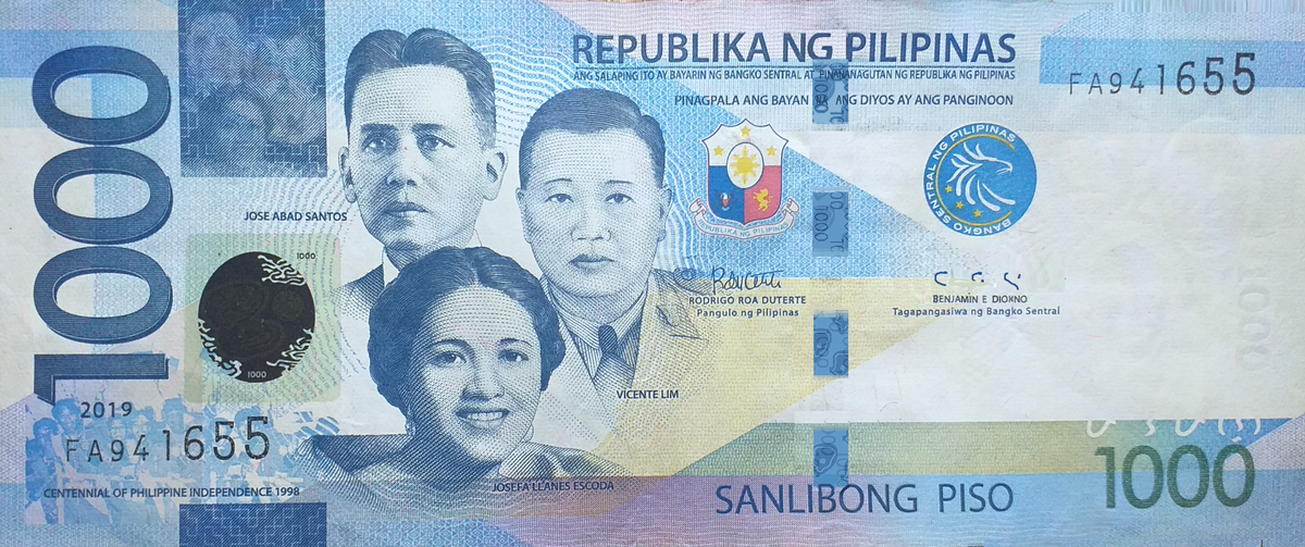 Philippine one thousand peso note.