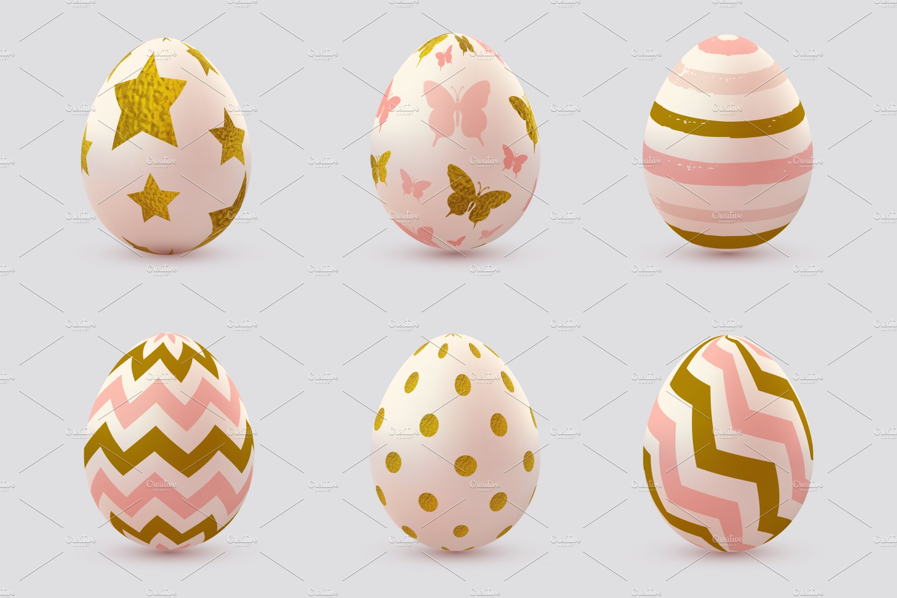 Set of Pink Decorative Easter Eggs.