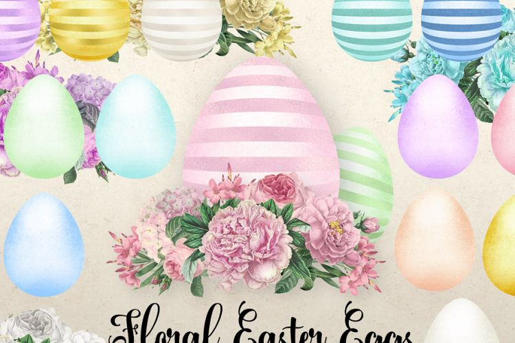 Floral Easter Eggs Clipart.