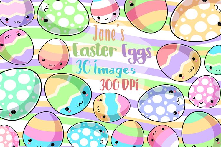 Kawaii Easter Eggs Clipart.