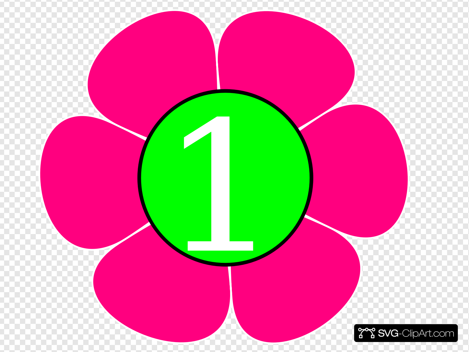 1 Pink Green Flower Clip art, Icon and SVG.