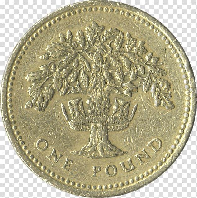 Round brass 1 pound coin, One Pound Coin transparent.