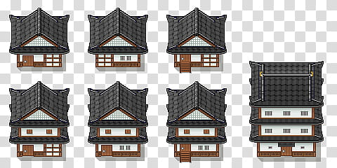 Traditional Japanese Buildings Tiles, gray.