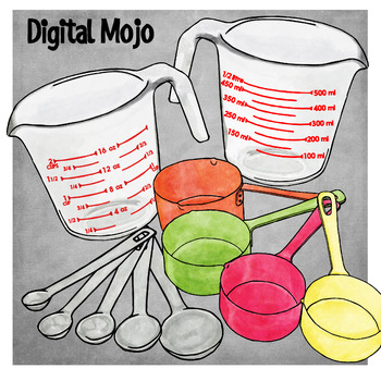 Measuring Cups and Spoons Clipart.