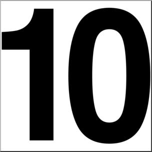 Clip Art: Number Set 1: 10 B&W I abcteach.com.