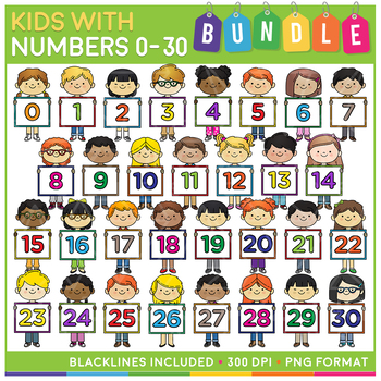 Kids with Numbers Clip Art MEGA Bundle (0 to 30).