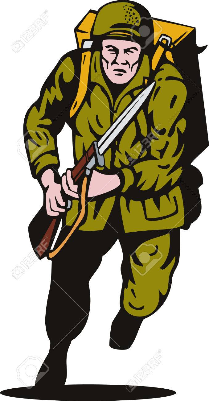 World War II Soldier Bayonet Attacking Royalty Free Cliparts.