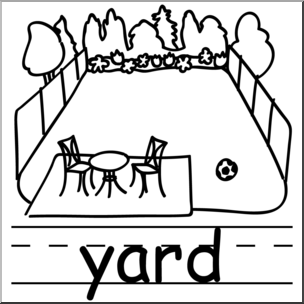 Clip Art: Basic Words: Yard B&W Labeled I abcteach.com.