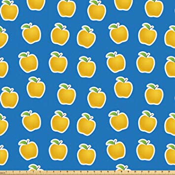 Amazon.com: Ambesonne Apple Fabric by The Yard, Yellow.