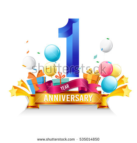 1 Year Anniversary Celebration Logo Birthd #126623.