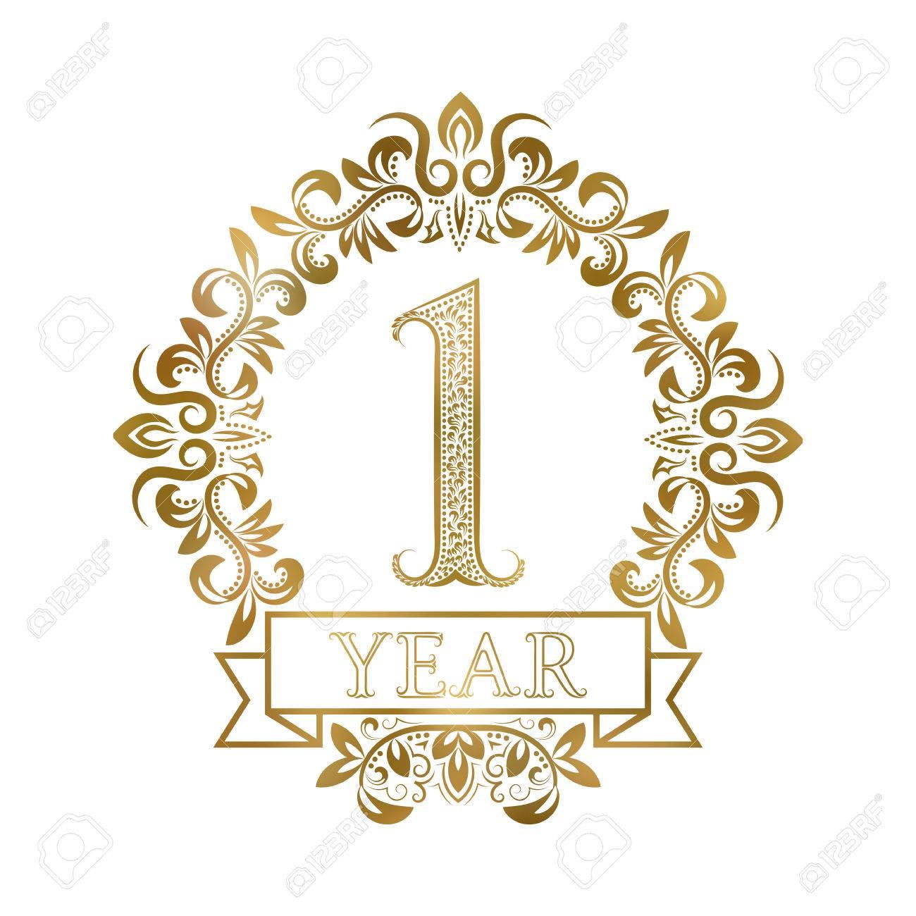 One year anniversary celebration golden vintage logotype. First...