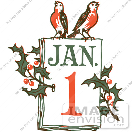 Clipart Of A Retro New Year January 1 Calendar With Holly And.