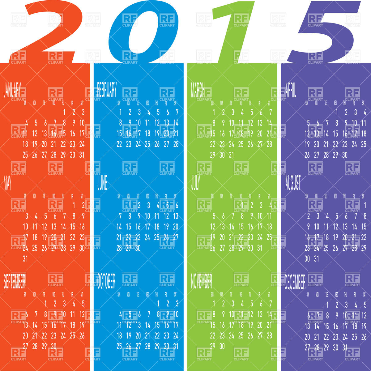 1 Year Calender Clipart.