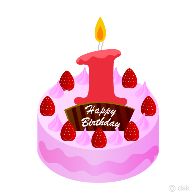 Free 1 Years Old Candle Cake Clipart Image|Illustoon.