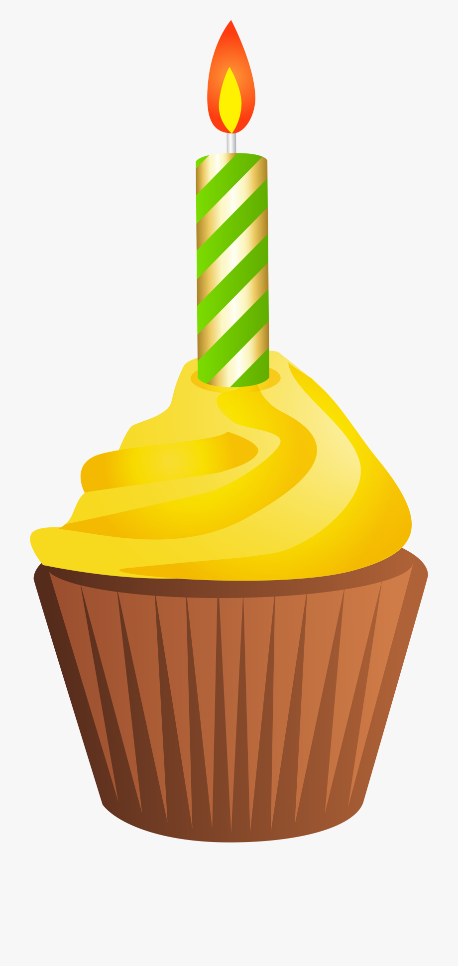 Birthday Muffin With Candle Png Clip Art Ⓒ.