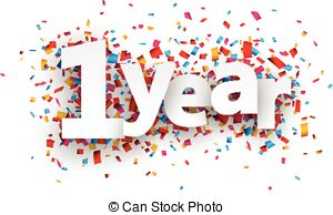 1 year anniversary celebration clipart.