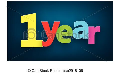 Clip Art Vector of one year paper sign..