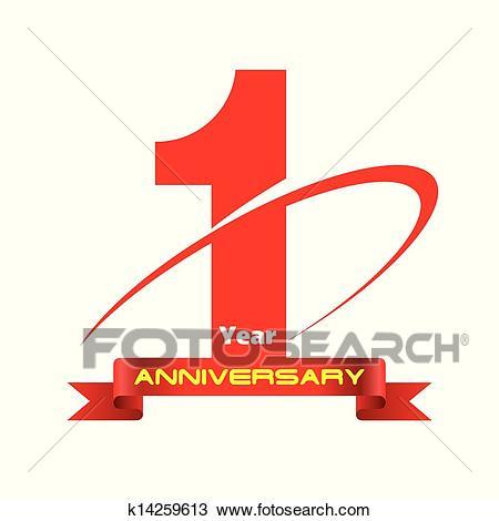 Clip Art of Gold Seal 1 year image logo k20670169.