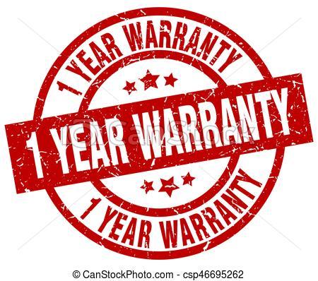 1 year warranty round red grunge stamp.