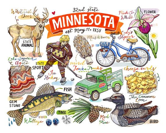 Minnesota State print. Illustration. Map. State by LouPaper.