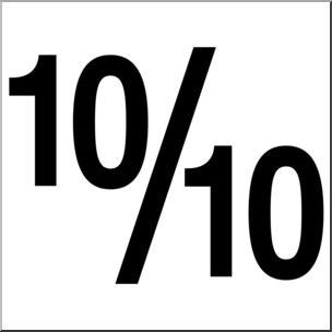 Clip Art: Numerical 10 10/10 B&W I abcteach.com.