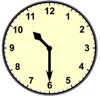 Cartoon Analog Clock 10:30.
