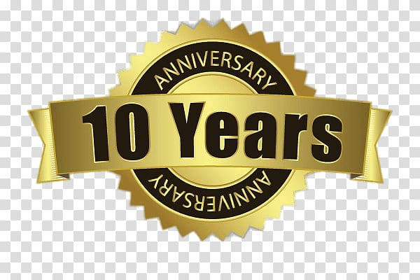 10 years logo, 10 Years Anniversary Badge transparent.