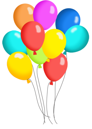 birthday balloons in many colors for birthday.