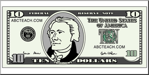 Clip Art: Ten Dollar Bill Color Front I abcteach.com.