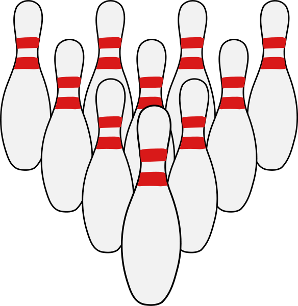 bowling ten pins.