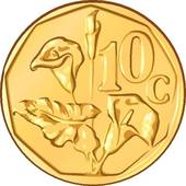 Clipart of vector money South African gold coin, ten cents a.