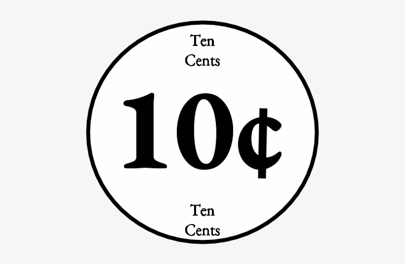 Ten Cent, 10, Dime, Black And White, Png.