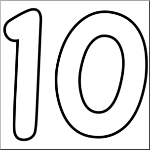 Number 10 Clipart Black And White.