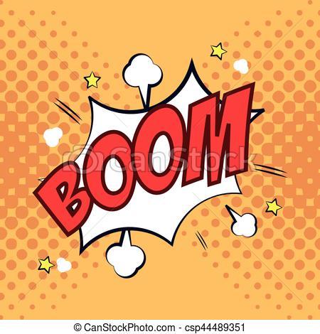 boom bubble speech pop art design.