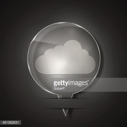 Vector glass cloud icon on gray background. Eps 10 Clipart.