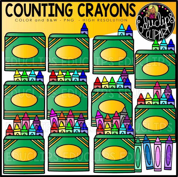 Counting Crayons Clip Art Set.