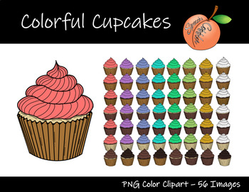 Colorful Cupcakes Clipart.