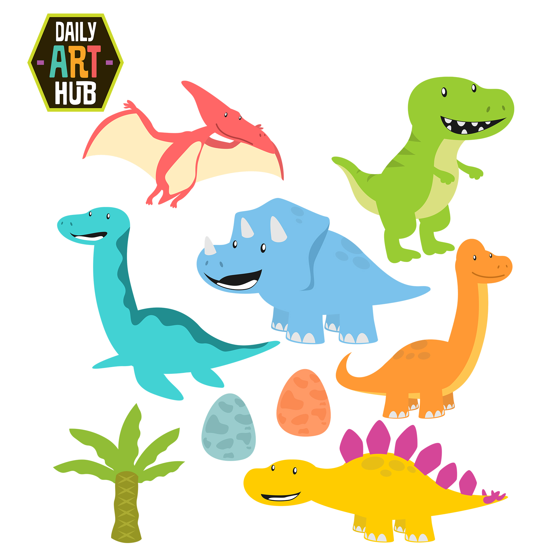 Cute Dinosaurs Clip Art Set.