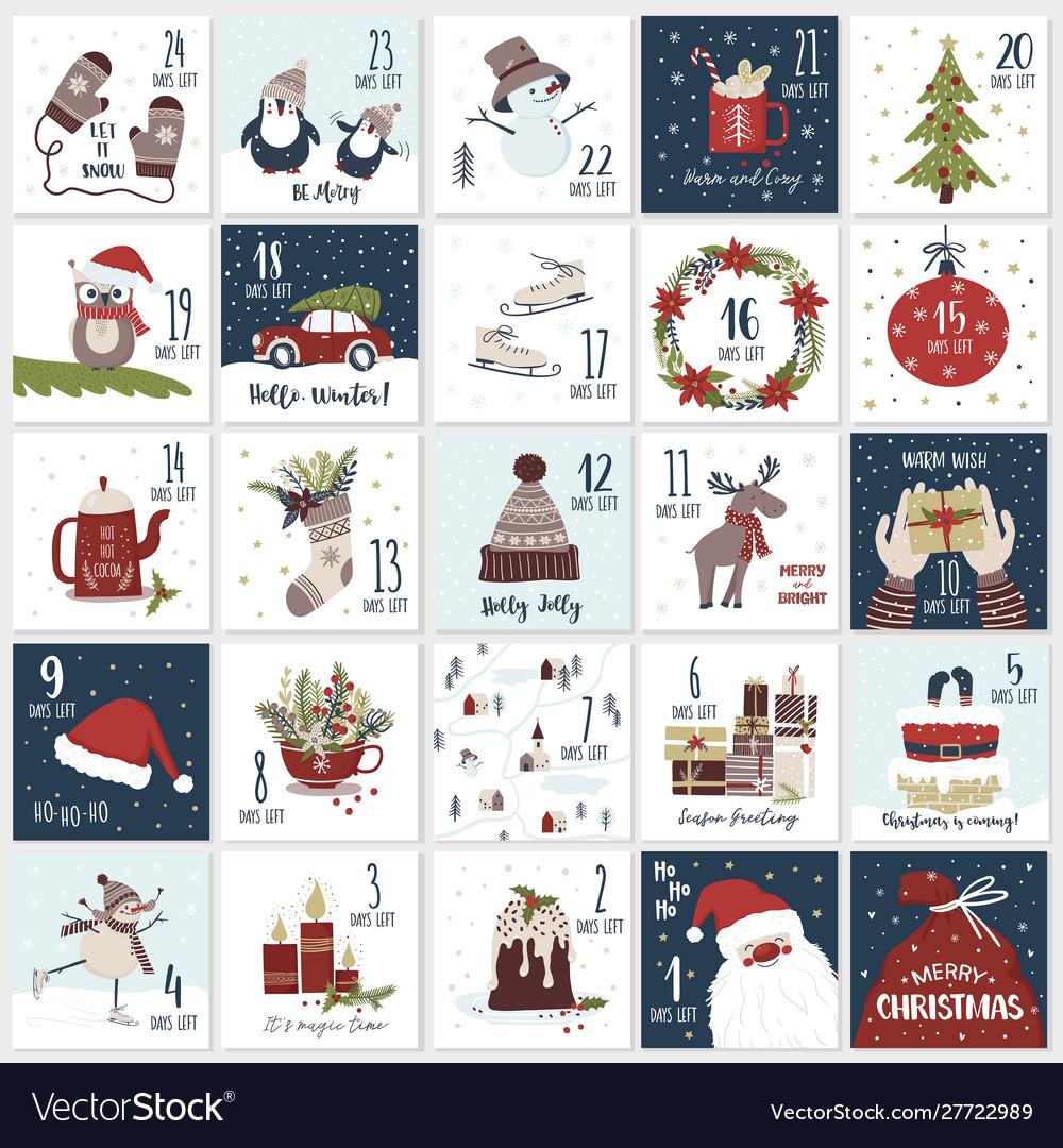 Christmas cartoon advent calendar countdown till.