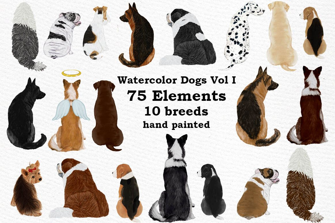 Dogs Clipart,Dog breeds Pet clipart,Watercolor dogs clipart.