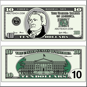 Clip Art: Ten Dollar Bill Color I abcteach.com.