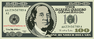 Ben Franklin adorns this miniature version of the $100 bill.