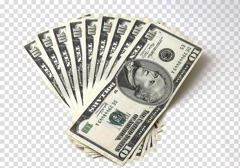 Nine 10 US dollar bills, Money United States Dollar , Dollar.