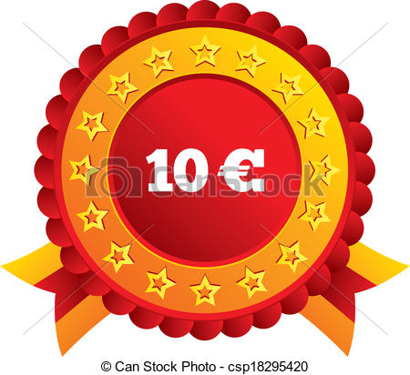Vector Illustration of 10 Euro sign icon. EUR currency symbol.