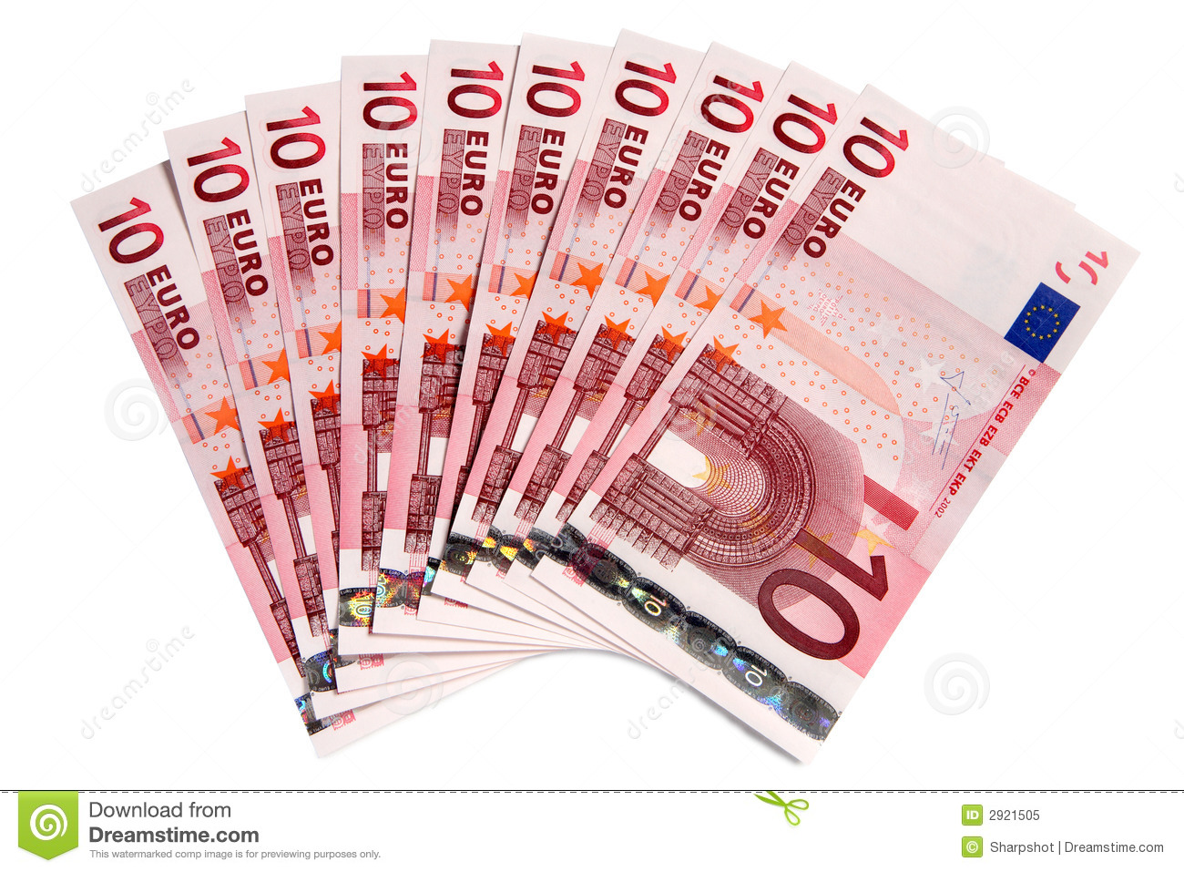 10 Euro Notes Stock Images.