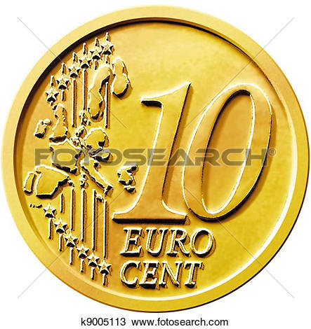 Drawing of Ten (10) Cent Euro Coin k9005113.
